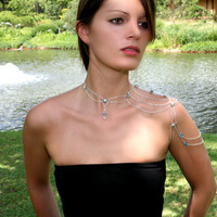 Blue Ice Crystal & Silver Shoulder Harness Necklace