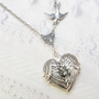 Silver Locket Necklace  - Silver HEART Locket - My GUARDIAN ANGEL- Jewelry by BirdzNbeez - Wedding Birthday Bridesmaids Gift