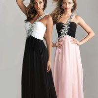 Pink &amp; Black Chiffon Rhinestone One Shoulder Prom Dress - Unique Vintage - Prom dresses, retro dresses, retro swimsuits.