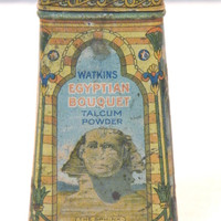 1920s Watkins Egyptian Bouquet Talcum Powder Tin
