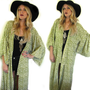VTG Boho KIMONO/ Robe Duster Gypsy Green and White Jacket