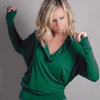 Irish Green Cowl Neck Long Sleeve Top St Patrick's by MoonHalo