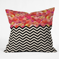 DENY Designs Home Accessories | Bianca Green Chevron Flora 1 Throw Pillow
