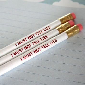 i must not tell lies pencil set of three 3 in by thecarboncrusader