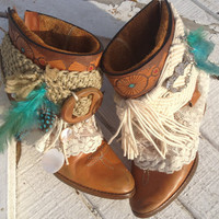 Cowgirl Annie Boots, Cowboy Boots,Gypsy, BOHO, , Girly boots, Shabby Chic,size 6