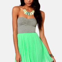Roxy One Day Soon Strapless Grey and Mint Dress