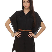 Cute Black Dress - Belted Dress - $41.00