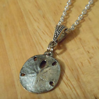 Silver Sand Dollar Necklace - Sand Dollar Pendant necklace - Seashell Necklace