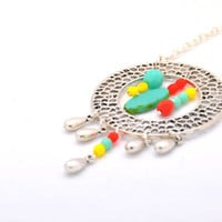 "Delight ""catcher"" necklace made with turquoise, coral and yellow czech glass opaque beads, Picasso table cut and silver rain drops."