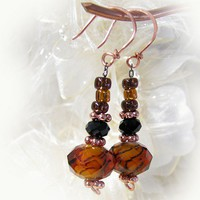Amber Color Foil Lined Lampwork Beads Black Crystal Copper Earrings