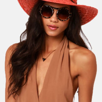 Roxy Summer Time Coral Straw Hat