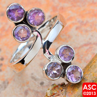 FACETED AMETHYST 925 STERLING SILVER SIGNATURE RING SIZE 7 1/2 JEWELRY