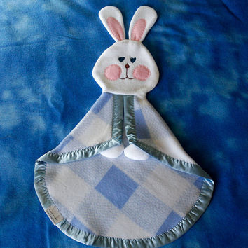 Fisher Price replica 1980's bunny blanket blue plaid