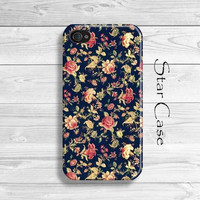 iPhone 4/ 4s and 5 Case - Vintage Emroidery - Retro Flowers Cell Phone Cover - iPhone Hard Case- Floral Old Patter Blue Girly Pretty