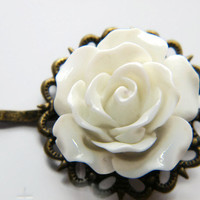 Brides Bobby Pins, Flower Bobby Pins, Rose Bobby Pins, Vintage Look Bobby Pins, White Rose Filigree Bobby Pins, Hair Pins