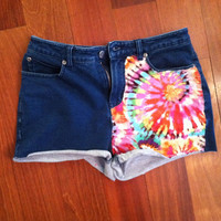 High waisted tie dye denim shorts