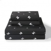 Sin in Linen Bedding Skull and Crossbones - Black - Sheet Set - Full