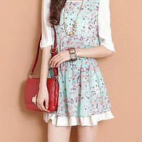 Floral Fifth Sleeve Chiffon Dress XX0007