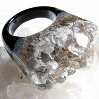 Herkimer Diamond, Black Agate, and Smokey Quartz Cocktail Ring