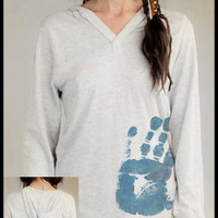 CommonThreadz: The Hand to Heart Collection - Hand Print of Lesley - Eco-Heather L/S Pullover Hoodie