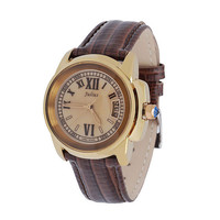 Vintage British Style Crocodile Grain Watch