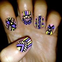 Vibrant Aztec/Tribal Fake Nails by CompulsiveNails on Etsy
