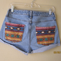 High Wasted Aztec Print Gap Shorts by nineteenlives on Etsy