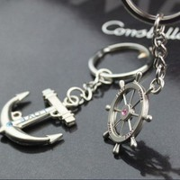 [gryxh31000222]rhinestone rudde anchor lovers key chain Creative gifts