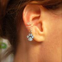 Ear Cuff Silver Cuff with an Solid Paw Print Charm by jhammerberg