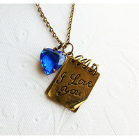 Notebook Necklace  I Love You by Aqsa on Etsy