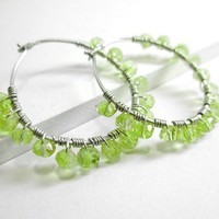Peridot Hoop Earrings, Sterling Silver August Birthstone Lime Gemstone