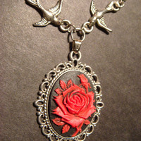 Red and Black Rose Cameo Necklace with Ornate by CreepyCreationz