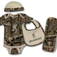 Browning Baby Girls' Camo Bodysuit, Hat, Bib And Burp Rag Set 6M-18M