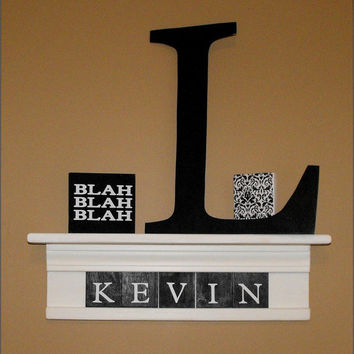 Letter Shelf Nursery Personalized Shelf with 5 Letter tiles New Baby, Wedding, Home Decor