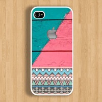 Apple on Aztec and Two Tones Wood Design Case : Iphone 4/4s case Iphone 5 case