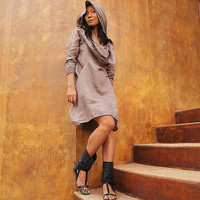 Mystical night dress Light Gray mix silk 2 sizes SM by cocoricooo