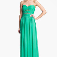 Max & Cleo Lace Detail Crinkled Chiffon Gown | Nordstrom