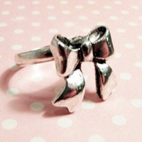 Pretty Bow Charm Ring, Cute Kawaii Ribbon Silver Adjustable