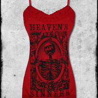 SE7EN DEADLY HEAVENS SINNERS RED LACE TRIM GOTH SKULL TATTOO CAMI VEST TANK TOP