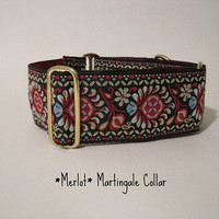 Red and Black Martingale Collar, Jacquard, Greyhound Collar, Dog Collar, Custom Dog Collar, Wide