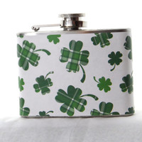 4oz Stainless Steel Hip Flask with Green four leaf clover wrap - shamrock