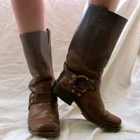 Rustic Brown Motorcycle Boots by inzoopsia on Etsy