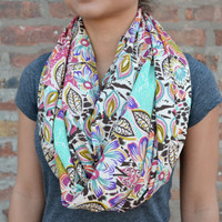 Bold Print Infinity Scarf - Flower Print in Purple, Pink and Aqua