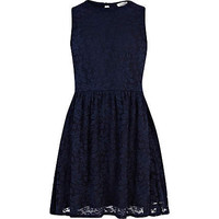 Girls navy lace skater dress - dresses - girls