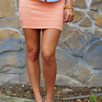 Pop Of Color Stretch Skirt: Peach | Hope&#x27;s