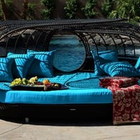 Patio Furniture | Handcrafted Outdoor Wicker Daybed | For Better Homes and Gardens | Rose Garden Seating | Blue