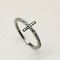rhinestone SIDEWAYS CROSS ring in Grey