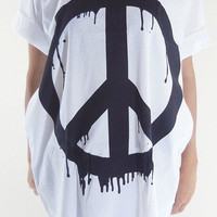 Peace Sign T-Shirt -- Peace Sign Shirt Peace Shirt Art T-Shirt Unisex T-Shirt Women T-Shirt Men T-Shirt White T-Shirt Peace T-Shirt Size L