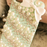 [gryxh3100022]bowknot pearl Rhinestone/rivet iphone case
