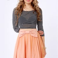 LULUS Exclusive Bow Pro Peach Skater Skirt